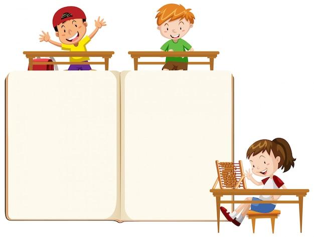 Grenzschablonendesign mit glücklichen kindern im klassenzimmer