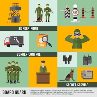 Grenzschutz-symbol flach