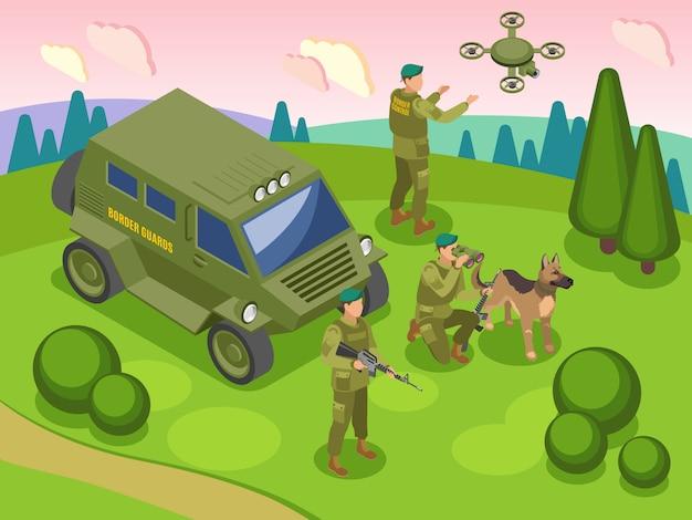 Grenzschutz während des grenzdienstes mit hund und fahrzeug