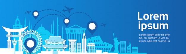 Grenzstein-reise-routenplanungs-konzept-flugzeug fliegen über berühmte gebäude-schablone