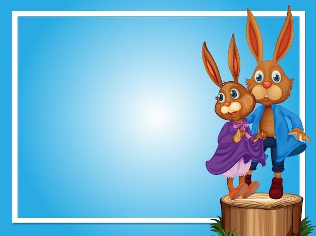 Grenzvorlage mit zwei kaninchen