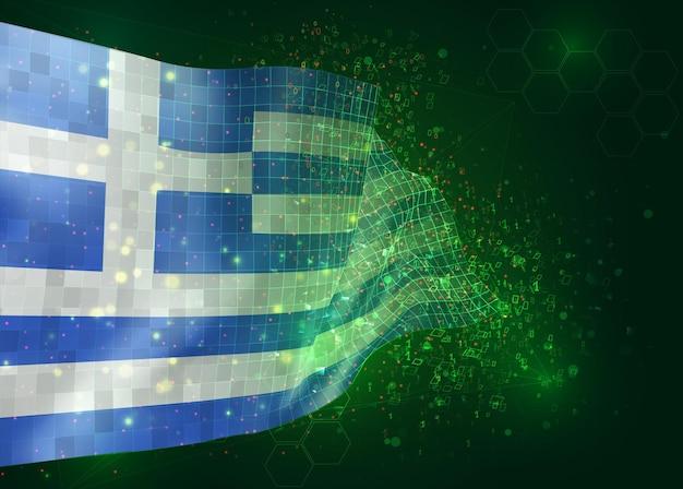 Griechenland, auf vektor-3d-flagge auf grünem hintergrund mit polygonen und datennummern