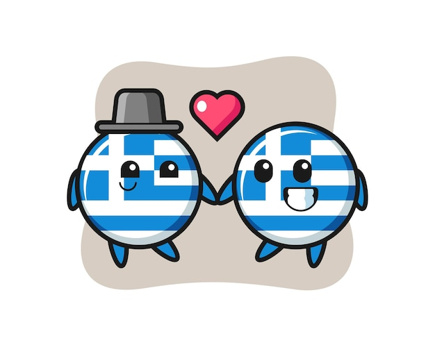 Griechenland flagge abzeichen cartoon charakter paar mit verlieben geste, niedliches design für t-shirt, aufkleber, logo-element