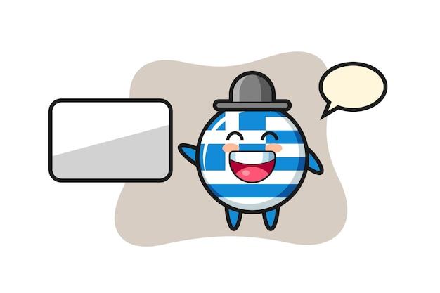 Griechenland-flagge-abzeichen-cartoon-illustration, die eine präsentation macht, niedliches design für t-shirt, aufkleber, logo-element