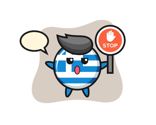 Griechenland-flagge-abzeichen-charakterillustration mit einem stoppschild, süßes design für t-shirt, aufkleber, logo-element