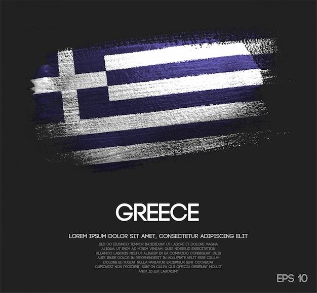 Griechenland flagge aus glitter sparkle pinselfarbe