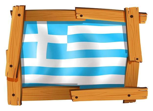 Griechenland-flagge im quadratischen rahmen