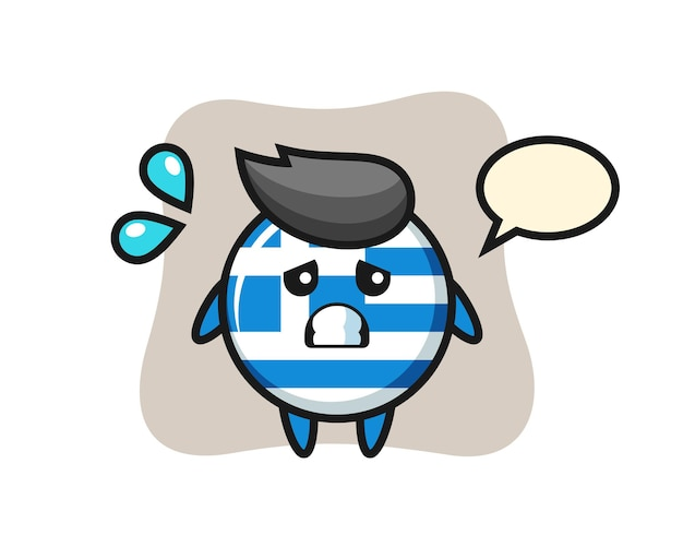 Griechenland-flagge-maskottchen-charakter mit ängstlicher geste, süßes design für t-shirt, aufkleber, logo-element