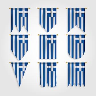 Griechenland flagge mit verschiedenen formen, flagge von griechenland in verschiedenen formen