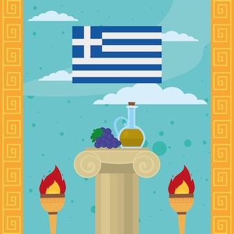 Griechenland flagge und spalte