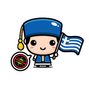 Griechenland junge mit flagge gegen virus