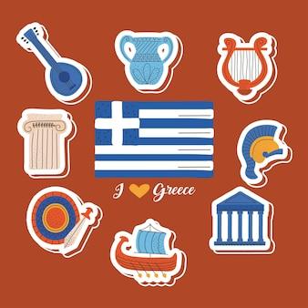 Griechenland kulturbanner Premium Vektoren