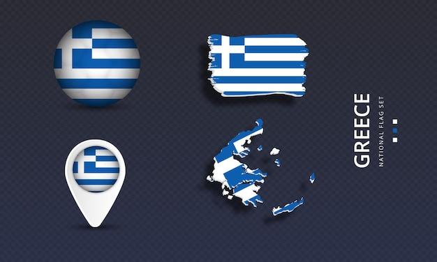 Griechenland nationales landeswellenflaggenset Premium Vektoren