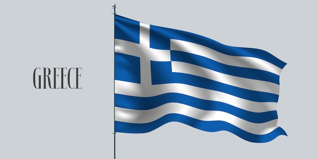 Griechenland schwenkt flagge auf fahnenmast
