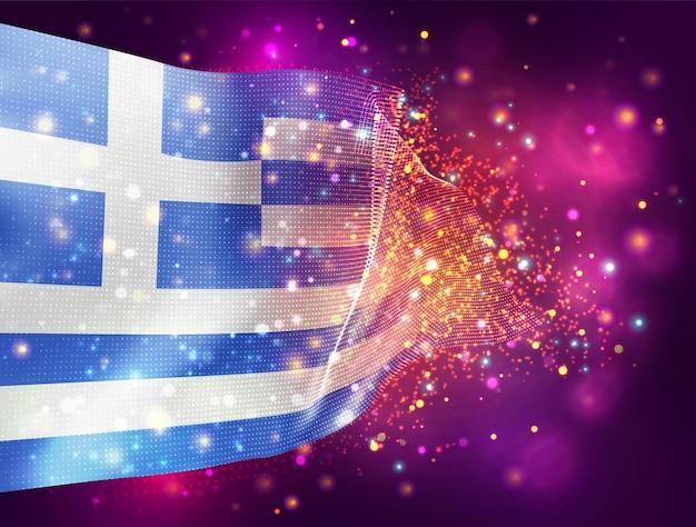 Griechenland, vektor-3d-flagge auf rosa lila hintergrund mit beleuchtung und fackeln