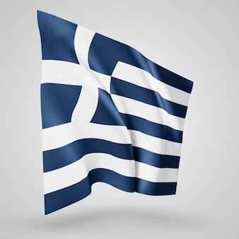 Griechenland, vektorflagge mit wellen und kurven im wind auf weißem hintergrund.