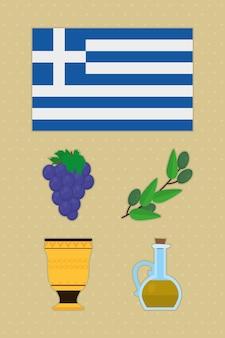 Griechische flagge und symbole
