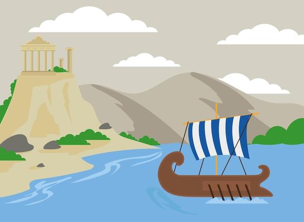 Griechische galeere und athenentempel