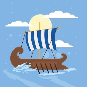 Griechische galeere und meer Premium Vektoren