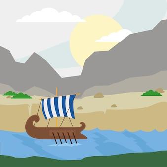 Griechische galeere und strand