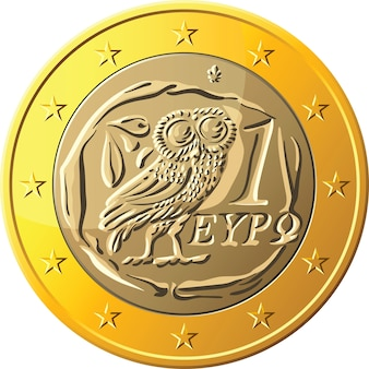 Griechische geldgoldmünze euro mit dem bild einer eule - das emblem von pallas athena, ein symbol der weisheit und des olivenzweigs