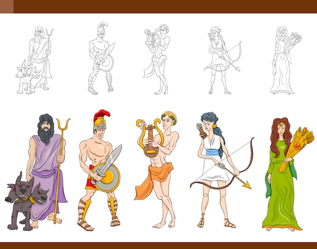 Griechische götter setzen illustration