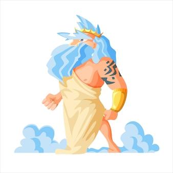 Griechische gott und göttin illustrationsserie, zeus, der vater der götter und menschen. epischer alter mann mit tätowierung.