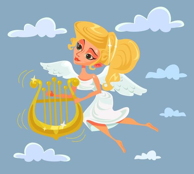 Griechische musefigur, die harfe spielt, flache karikaturillustration