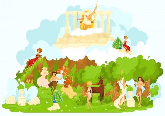 Griechische mythologie, alte götterkarikaturfiguren der mythologischen olympischen götter, die die gunst- und schutzillustration symbolisieren.