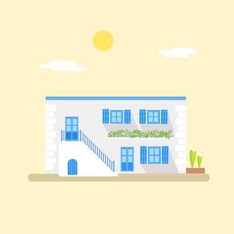 Griechische städtische haus-illustration