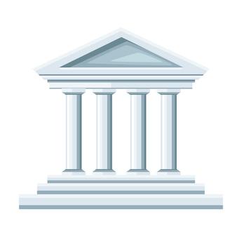 Griechische tempelillustration. bank-symbol. . illustration auf weißem hintergrund. website-seite und mobile app.