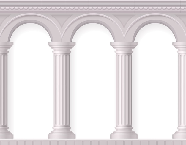 Griechische und realistische antike weiße säulenkomposition mit weißen alten bögen