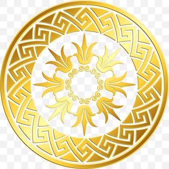 Griechische verzierung der traditionellen weinlesegold, mäander