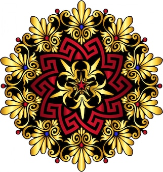 Griechische verzierung des traditionellen weinlesegoldes und des roten kreises