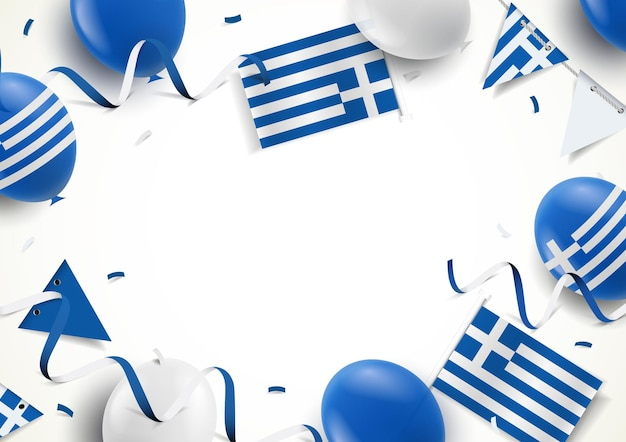 Griechischer feiertagsrahmen mit luftballons, fahnen