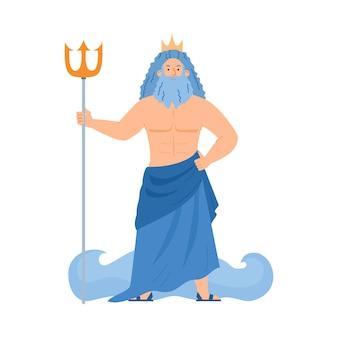 Griechischer gott des meeres poseidon oder römischer neptun flache vektorillustration isoliert