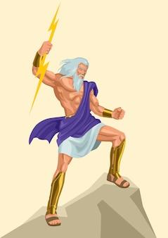Griechischer gott und göttin vektor-illustrationsserie, zeus, der vater der götter und menschen