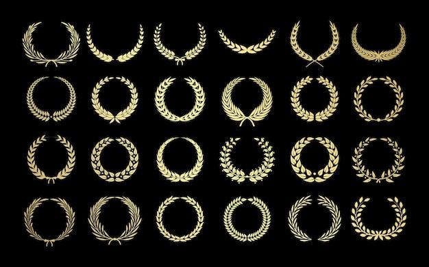 Griechischer kranz. goldgewinner lorbeer, adel und leistung. blumen- und olivenzweigpreise, gesetzt.