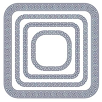 Griechischer ornamentrahmen mit abgerundeten ecken - mäanderförmiger musterrand