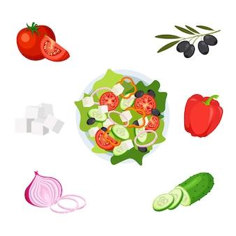 Griechischer salat auf einer platte draufsicht satz frisches gemüse in einer schüssel lokalisiert auf einem weißen hintergrund