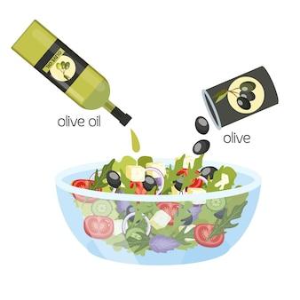Griechischer salat in einer schüssel. bio gesunde lebensmittel mit olivenöl. gurke und tomate, feta-käse und pfeffer. illustration