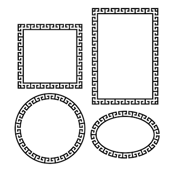Griechischer schlüssel rund quadratisch rechteckig oval bordüre typische ägyptische und griechische motive