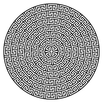 Griechischer schlüssel runder mäanderrahmen typische griechische motive kreisgrenze arabische geometrische textur