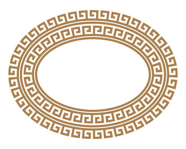 Griechischer schlüssel runder ovaler rahmen. griechische grenze. vektor