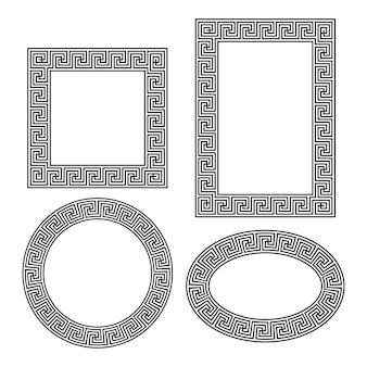 Griechischer schlüssel runder quadratischer rechteckiger ovaler rahmen