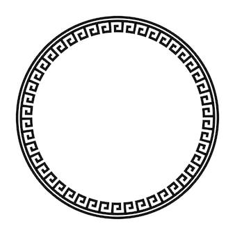 Griechischer schlüssel runder rahmen. griechische grenze. vektor