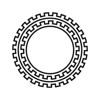 Griechischer schlüssel runder rahmen. typisch ägyptische, assyrische und griechische motive umkreisen die grenze.