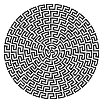 Griechischer schlüssel runder rahmen typische griechische motive kreisgrenze arabische geometrische textur islamische kunst