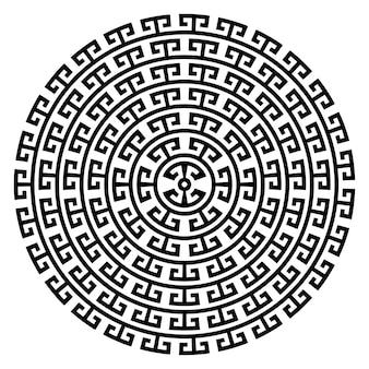 Griechischer schlüssel runder rahmen typische griechische motive kreisgrenze arabische geometrische textur