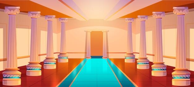 Griechischer tempel, römische architektur, schlosskorridor mit säulen und bogeneingang. palasthalle mit säulen, altem gebäudedesign, leerem ballsaal oder theaterinnenraum. karikaturillustration